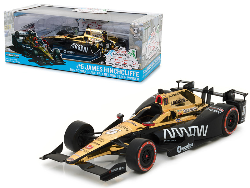 2017 Toyota Grand Prix of Long Beach Winner Car #5 James Hinchcliffe/ Schmidt Peterson Motorsports, Arrow 1/18 Diecast Model Car by Greenlight