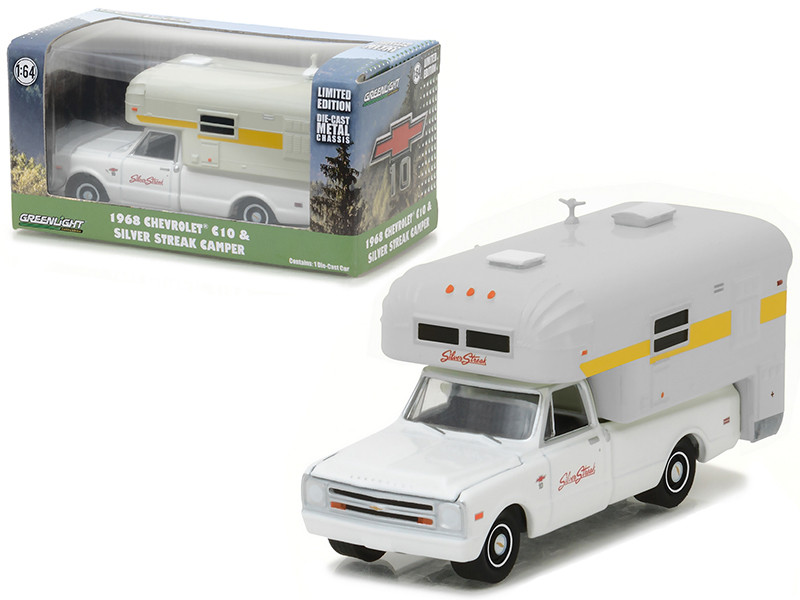 1968 Chevrolet C10 with Silver Streak Camper Hobby Exclusive 1/64 Diecast Model Car Greenlight 29865