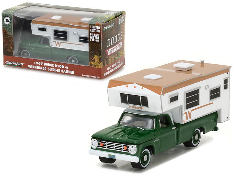 1967 Dodge D-100 Green with Winnebago Slide in Camper Hobby Exclusive 1/64 Diecast Model Car Greenlight 29866