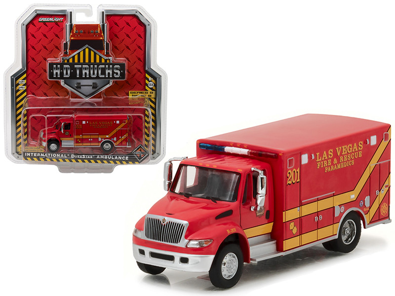 2013 International Durastar Las Vegas Fire & Rescue Paramedics Ambulance HD Trucks Series 9 1/64 Diecast Model Greenlight 33090 C