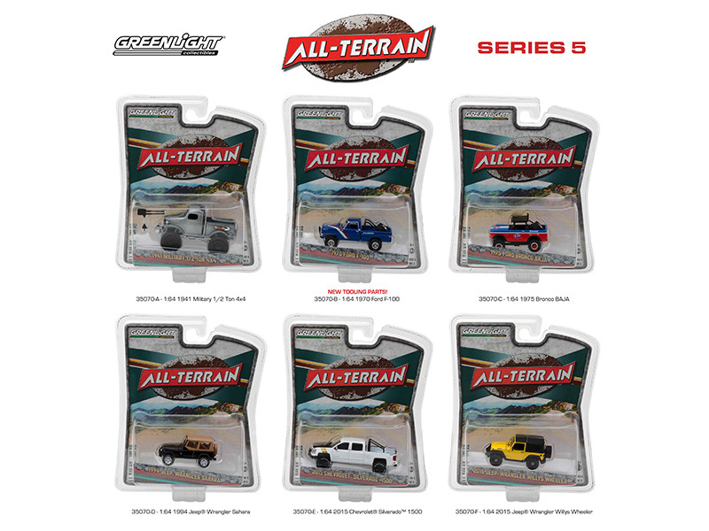All Terrain Series 5 6pc Diecast Car Set 1/64 Diecast Model Cars Greenlight 35070
