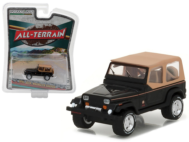 1994 Jeep Wrangler Sahara Black All Terrain Series 5 1/64 Diecast Model Car Greenlight 35070 D