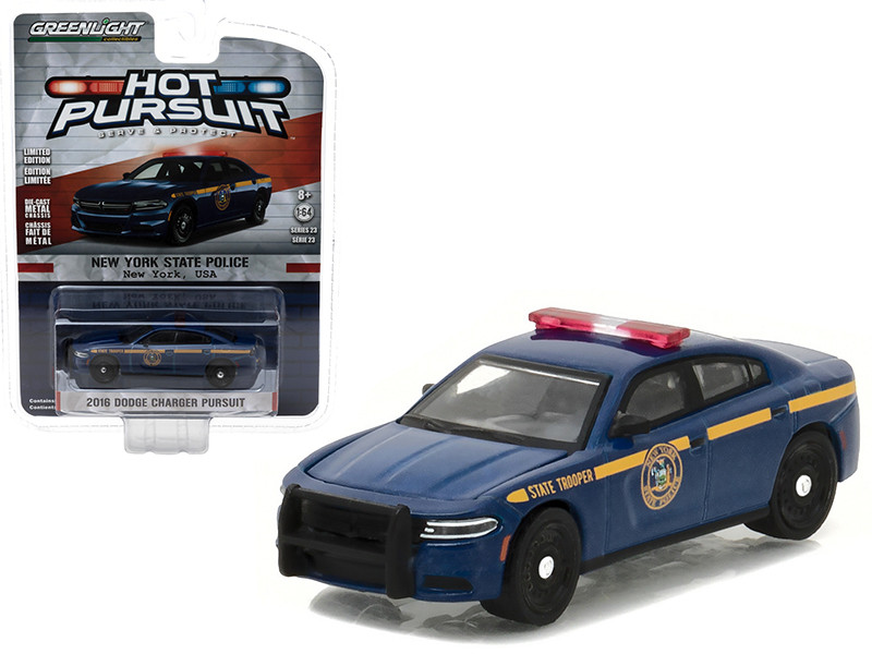 2016 Dodge Charger Pursuit New York State Police Hot Pursuit Series 23 1/64 Diecast Model Car Greenlight 42800 E