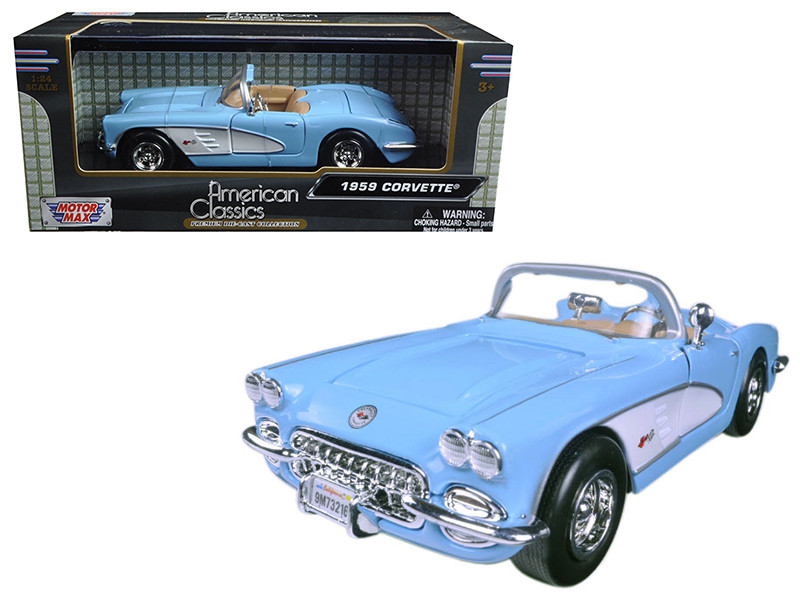 1959 Chevrolet Corvette Light Blue 1/24 Diecast Model Car Motormax 73216