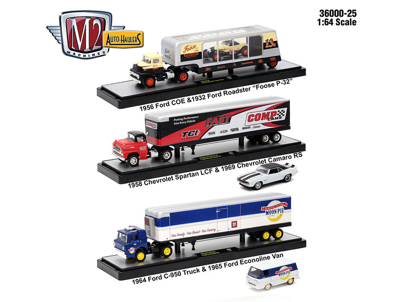Auto Haulers Release 25 3 Trucks Set 1/64 Diecast Models M2 Machines 36000-25