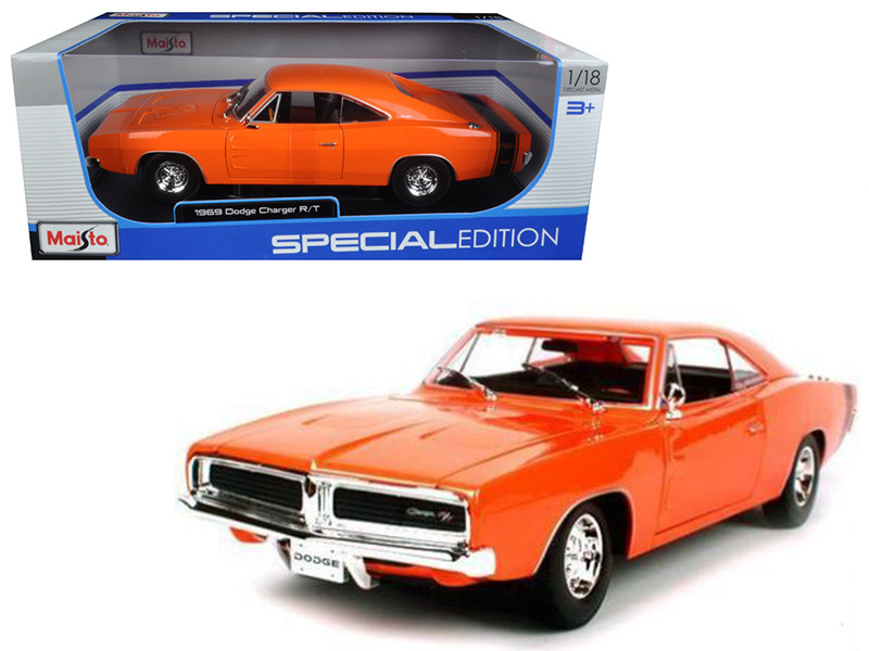 1969 Dodge Charger R/T Orange 1/18 Diecast Model Car Maisto 31387