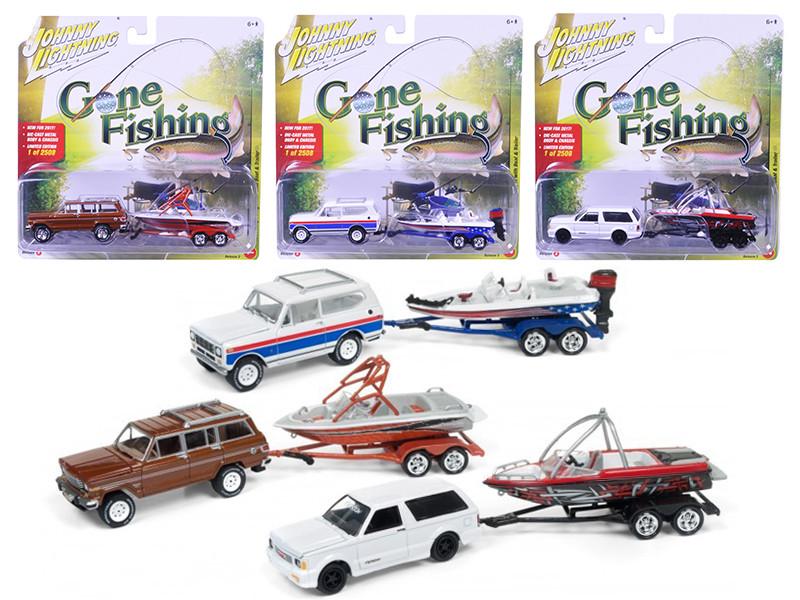 Gone Fishing 2017 Release 3A Set of 3 1/64 Diecast Model Cars Johnny Lightning JLBT003 A