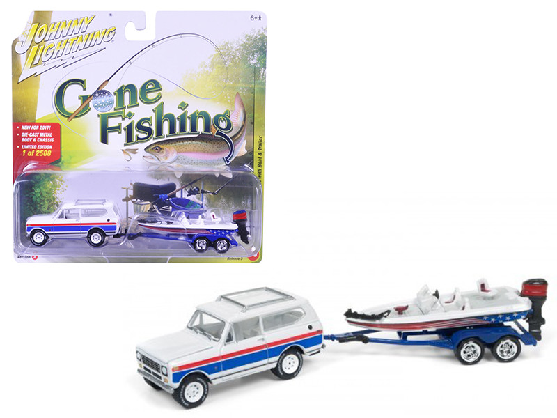 1979 International Scout Gloss White Red & Blue Stripes with Boat & Trailer Gone Fishing 1/64 Diecast Model Car Johnny Lightning JLBT003 A
