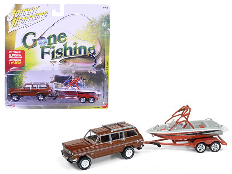 1981 Jeep Wagoneer Copper Brown with Boat & Trailer Gone Fishing 1/64 Diecast Model Car Johnny Lightning JLBT003 A