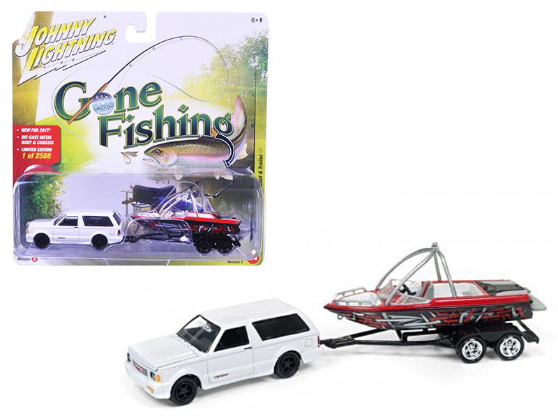 "1992 GMC Typhoon Gloss White with Boat & Trailer \Gone Fishing"" Limited to 2508pc 1/64 Diecast Model Car by Johnny Lightning"""""""