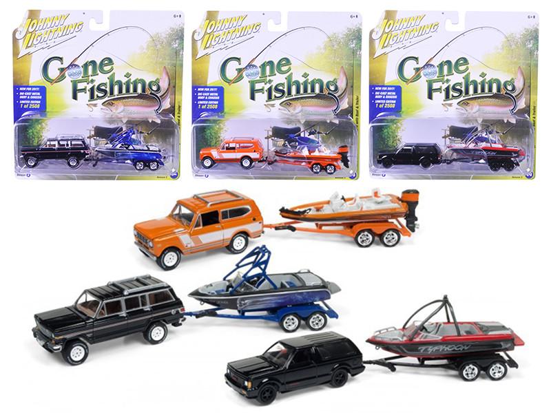 Gone Fishing 2017 Release 3B Set of 3 1/64 Diecast Model Cars Johnny Lightning JLBT003 B