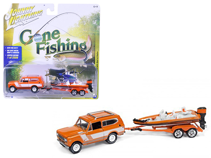 "1979 International Scout Orange w/White Stripes with Boat & Trailer \Gone Fishing"" Limited to 2508pc 1/64 Diecast Model Car by Johnny Lightning"""""""