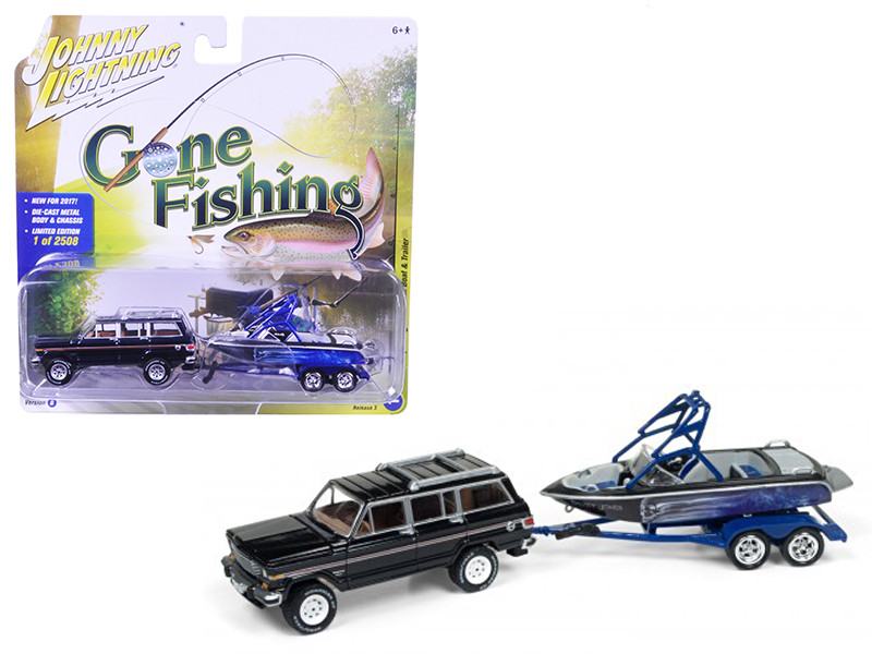 1981 Jeep Wagoneer Midnight Blue with Boat & Trailer Gone Fishing 1/64 Diecast Model Car Johnny Lightning JLBT003 B