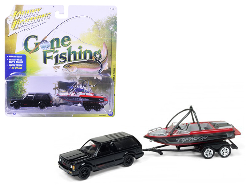 "1992 GMC Typhoon Gloss Black with Boat & Trailer \Gone Fishing"" Limited to 2508pc 1/64 Diecast Model Car by Johnny Lightning"""""""