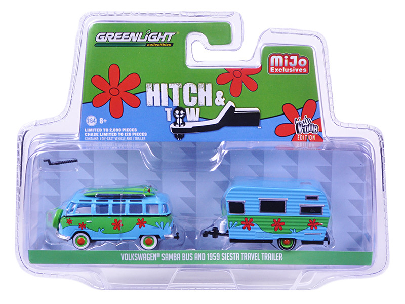 Volkswagen Samba Bus and 1959 Siesta Travel Trailer Hitch & Tow Series Limited Edition to 2898pcs 1/64 Diecast Model Car Greenlight 51114 D