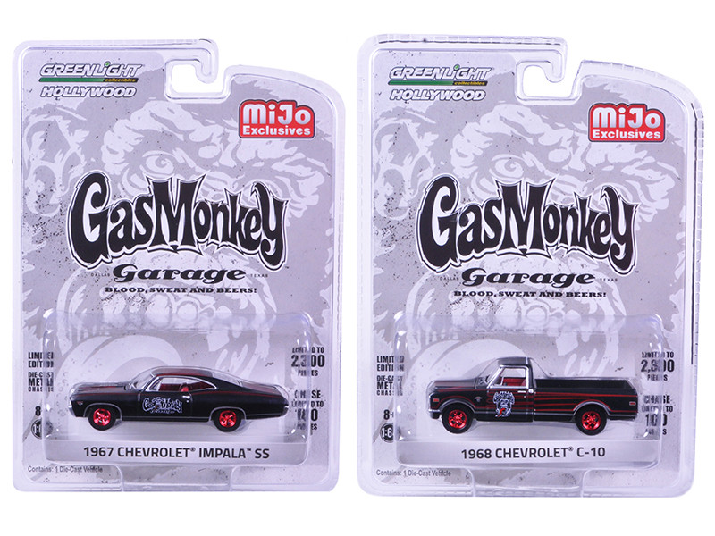 1967 Chevrolet Impala SS and 1968 Chevrolet C-10 Pickup Truck Black Set of 2 Cars Gas Monkey Garage 2012 Current TV Series 1/64 Diecast Model Cars Greenlight 51120