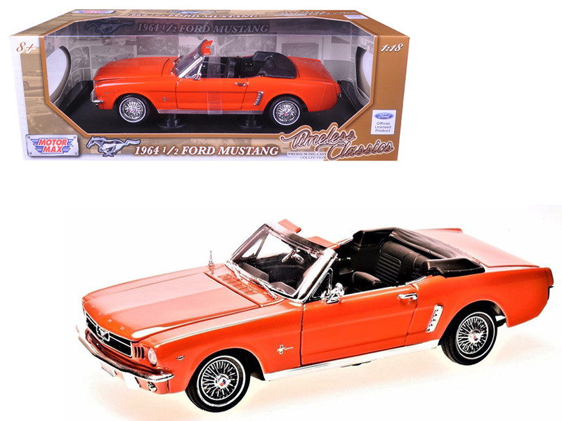 1964 1/2 Ford Mustang Convertible Orange Timeless Classics 1/18 Diecast Model Car Motormax 73145