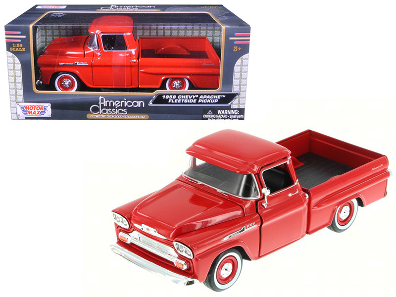 1958 Chevrolet Apache Fleetside Pickup Truck Red 1/24 Diecast Model Car Motormax 79311