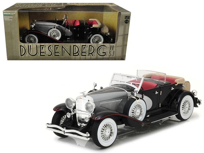 1934 Duesenberg II SJ Black and Silver 1/18 Diecast Model Car Greenlight 13504