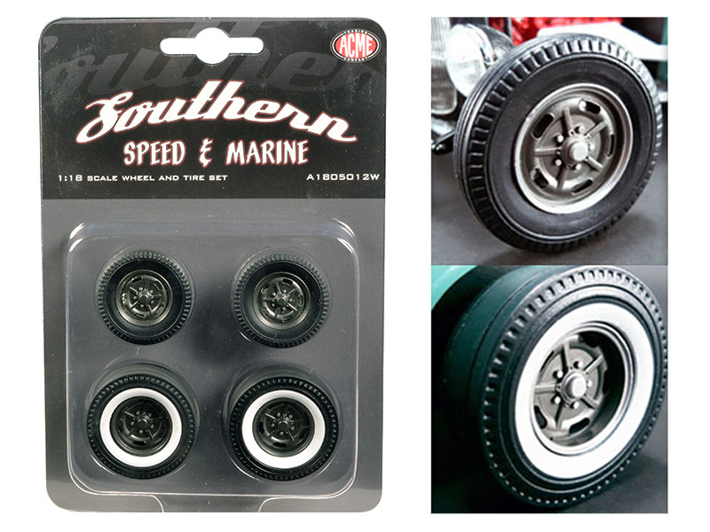 1932 Ford 5 Five Window Southern Speed and Marine KIdney Bean Hot Rod Wheels and Tires Set of 4 1/18 by ACME
