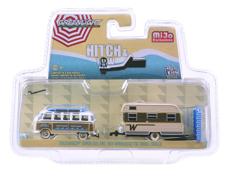 Volkswagen Samba Bus Beige and 1964 Winnebago 216 Travel Trailer Hitch & Tow Series Limited Edition to 2898pcs 1/64 Diecast Model Car Greenlight 51114 B