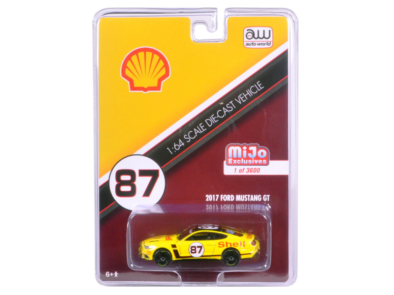 2017 Ford Mustang GT Shell Racing Yellow #87 Limited Edition to 3600pcs 1/64 Diecast Model Car Autoworld CP7439