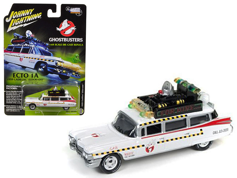 1959 Cadillac Ghostbusters Ecto-1A from Ghostbusters 1 Movie 1/64 Diecast Model Car Johnny Lightning JLSS004