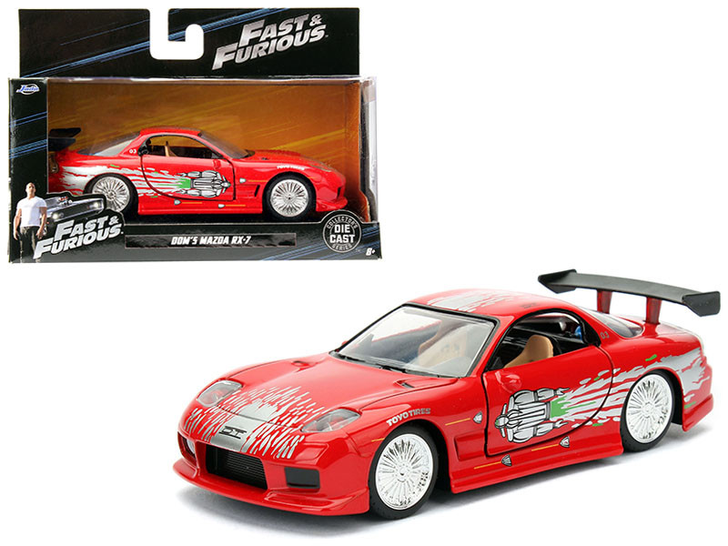 "Dom\'s Mazda RX-7 Red \Fast & Furious"" Movie 1/32 Diecast Model Car by Jada"""""""