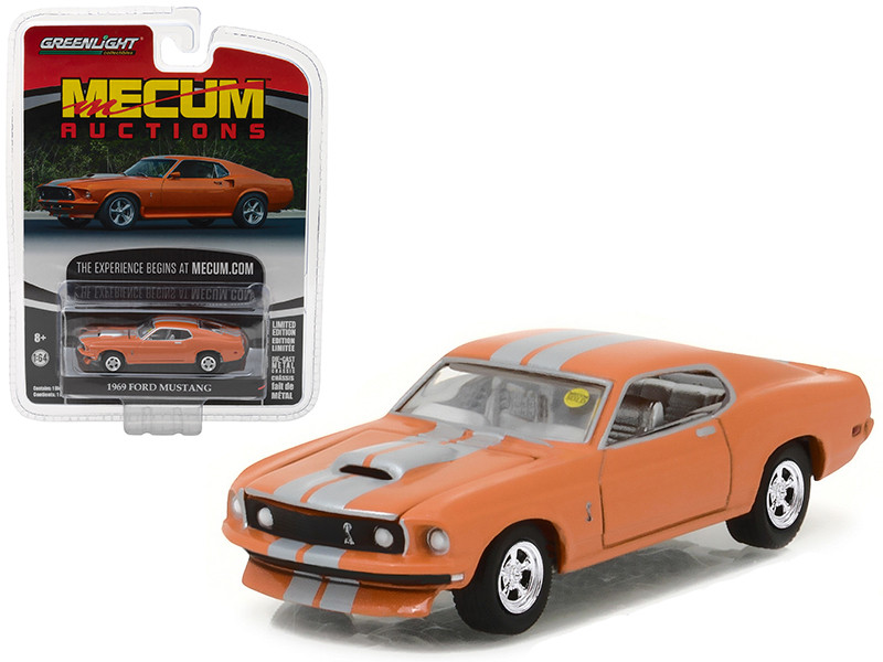 1969 Ford Mustang Resto Mod Orange with Silver Stripes Mecum Auctions Collector Series 1 1/64 Diecast Model Car Greenlight 37110 A