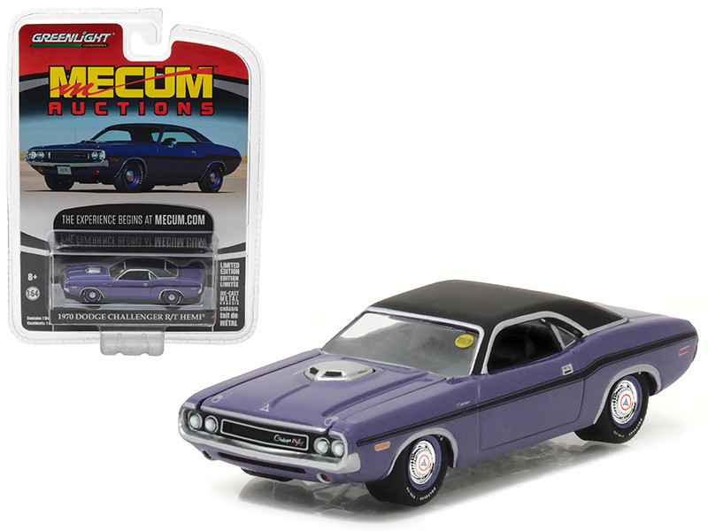 1970 Dodge Challenger R/T HEMI Plum Crazy Purple Mecum Auctions Collector Series 1 1/64 Diecast Model Car Greenlight 37110 B