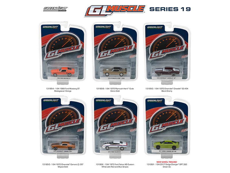 Greenlight Muscle Series 19 6pc Diecast Car Set 1/64 Diecast Model Car Greenlight 13190