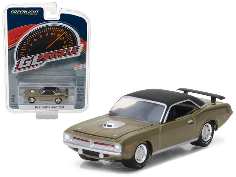 1970 Plymouth HEMI Cuda Citron Gold Greenlight Muscle Series 19 1/64 Diecast Model Car Greenlight 13190 B