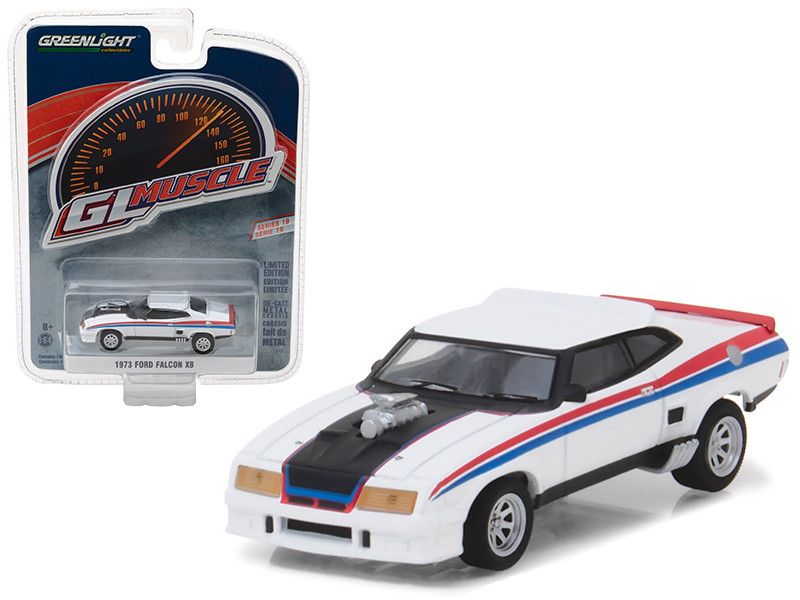 1973 Ford Falcon XB Custom White with Red and Blue Stripes Greenlight Muscle Series 19 1/64 Diecast Model Car Greenlight 13190 E