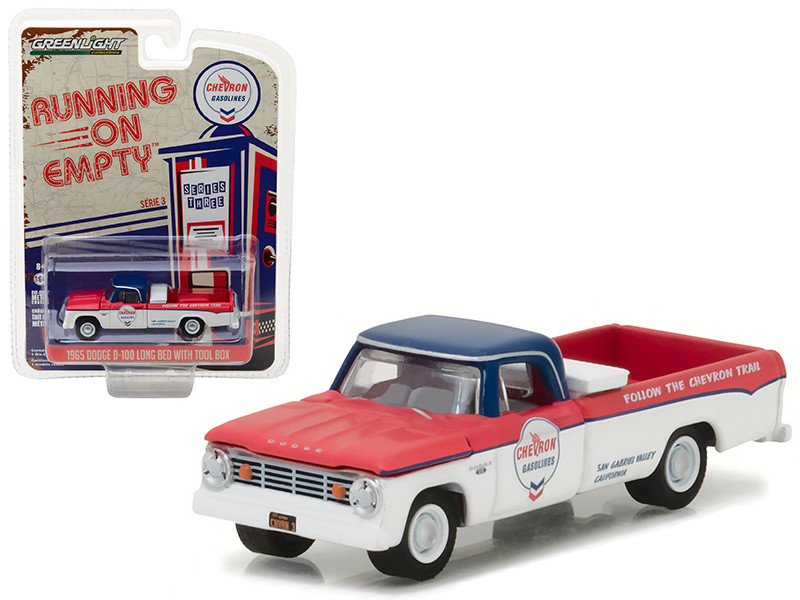 Diecast model cars wholesale toys dropshipper drop shipping 1965 1965 dodge d 100 pickup truck chevron long bed with tool box running on empty publicscrutiny Choice Image