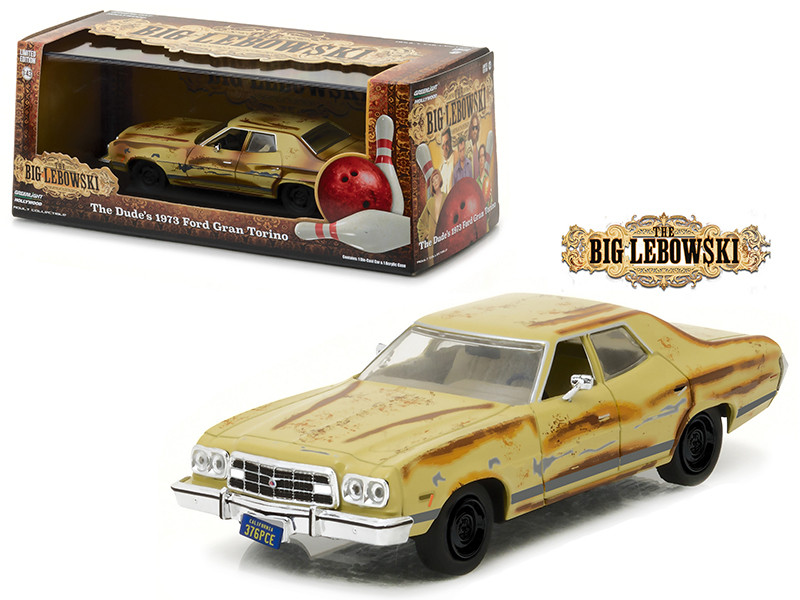 The Dude's 1973 Ford Gran Torino The Big Lebowski Movie 1998 1/43 Diecast Model Car Greenlight 86495