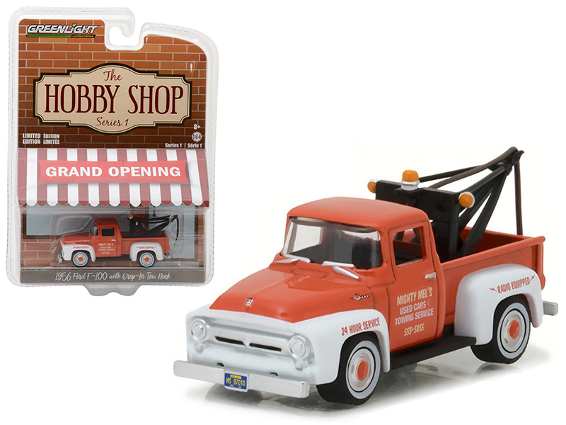 "1956 Ford F-100 Red and White with Drop-in Tow Hook \The Hobby Shop"" Series 1 1/64 Diecast Model Car by Greenlight"""""""