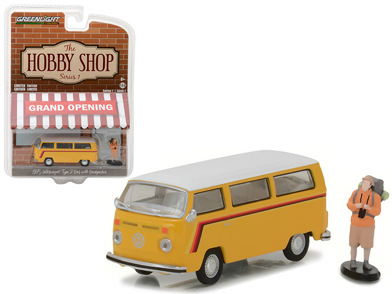 1975 Volkswagen Type 2 Bus Yellow with Backpacker The Hobby Shop Series 1 1/64 Diecast Model Car Greenlight 97010 C