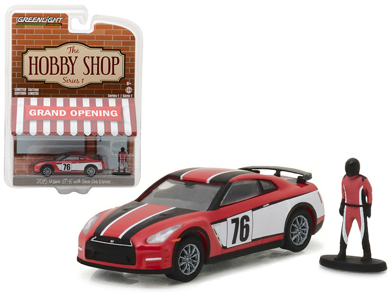 2015 Nissan GT-R R35 Red #76 with Race Car Driver The Hobby Shop Series 1 1/64 Diecast Model Car Greenlight 97010 E