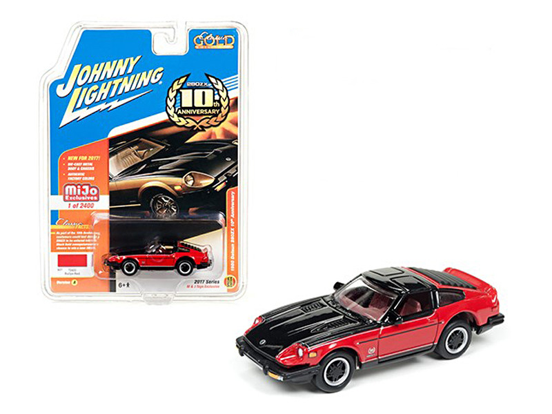 "1980 Datsun 280ZX Nissan 280Z Red/Black \Classic Gold"" 1/64 Diecast Model Car by Johnny Lightning"""""""