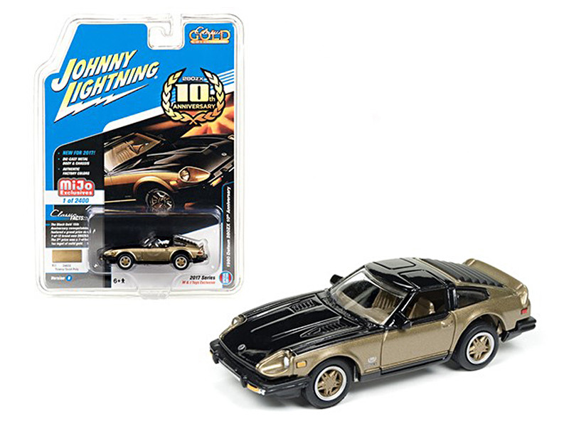 "1980 Datsun 280ZX Nissan 280Z Gold/Black \Classic Gold"" 1/64 Diecast Model Car by Johnny Lightning"""""""