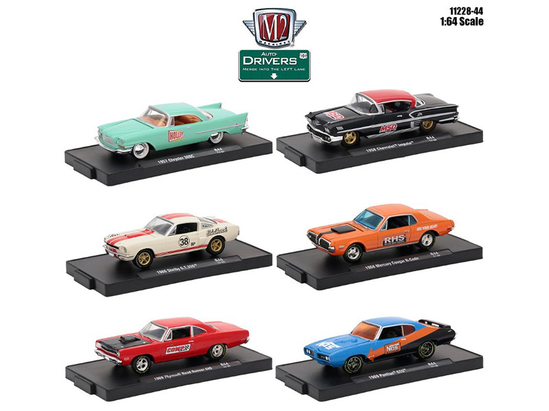 Drivers 6 Cars Set Release 44 In Blister Packs 1/64 Diecast Model Cars M2 Machines 11228-44