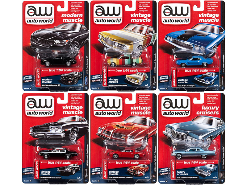 Autoworld Premium 2017 Release 3B Set Of 6 Cars 1/64 Diecast Model Cars Autoworld 64112 B