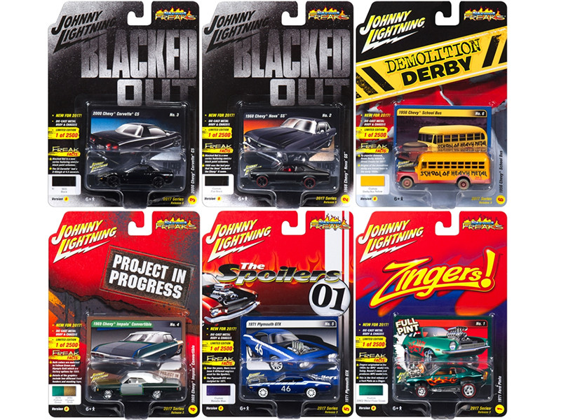 Street Freaks 2017 Release 3B Set of 6 cars 1/64 Diecast Model Cars Johnny Lightning JLSF005 B