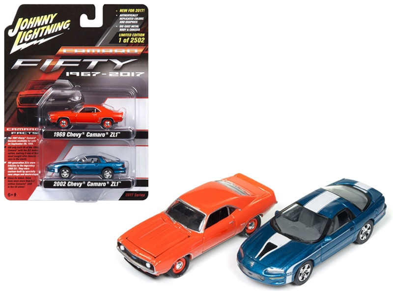 Chevrolet Camaro 50th Anniversary 1967-2017 2 Cars Set 1969 and 2002 Chevrolet Camaro ZL1 1/64 Diecast Model Cars Johnny Lightning JLPK001