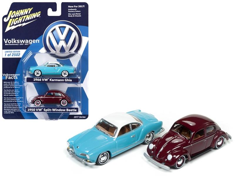 1950 Volkswagen Split Window Beetle and 1966 Karmann Ghia 2 Cars Set 1/64 Diecast Model Cars by Johnny Lightning