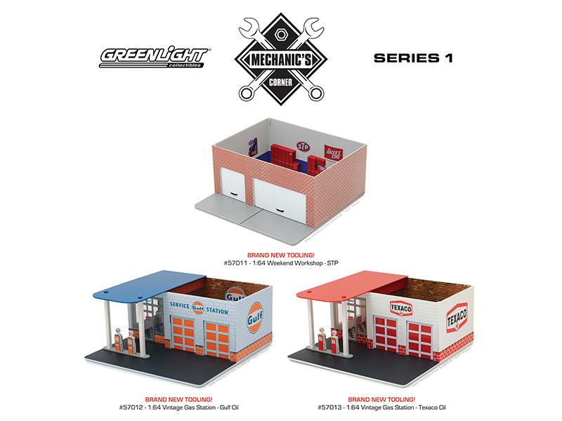 Mechanic's Corner Series 1 3 pc Set 1/64 Greenlight 57011 57012 57013