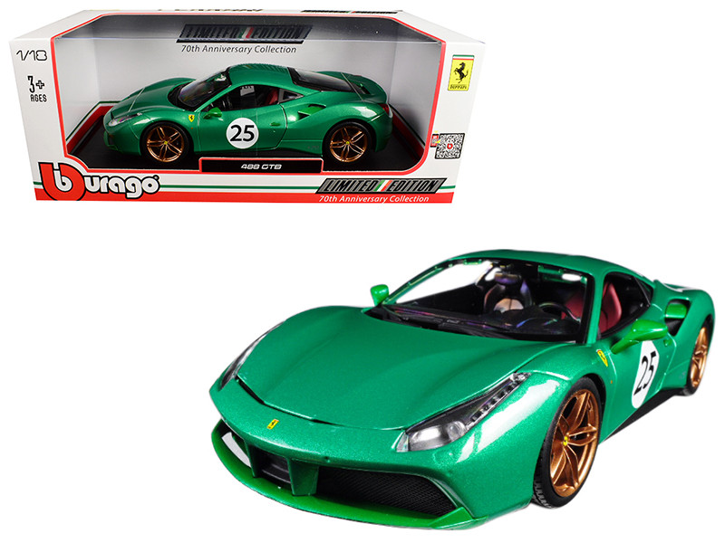 Ferrari 488 GTB 70th Anniversary The Green Jewel 1/18 Diecast Model Car Bburago 76101