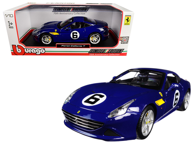 Ferrari California T Blue Sunoco #6 70th Anniversary 1/18 Diecast Model Car Bburago 76104