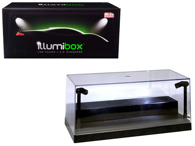 USB Powered Plastic Collectible Display Show Case Black 1/24 Scale with Riser Option to Display 1/64 Scale Diecast Models with L.E.D. Lights Illumibox 10001