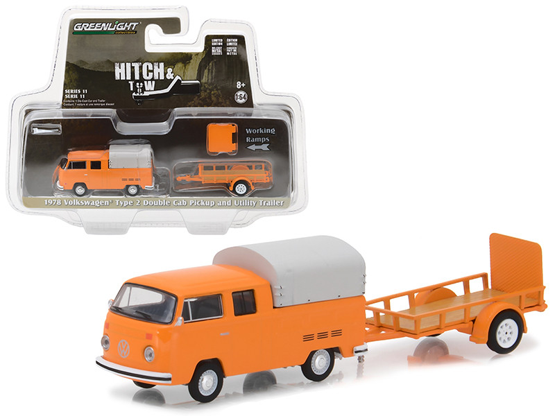 1978 Volkswagen Type 2 Double Cab Orange with Utility Trailer Hitch & Tow Series 11 1/64 Diecast Car Model Greenlight 32110 A